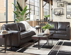 MORELOS GRAY LEATHER MATCH SOFA LOVE SEAT COLLECTION