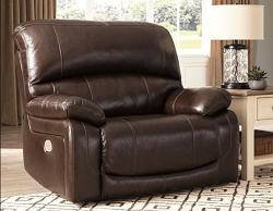 HALLSTRUNG CHOCOLATE LEATHER MATCH OVER SIZE POWER RECLINER CHAIR