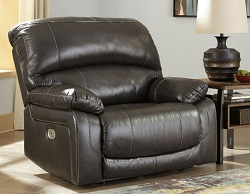 HALLSTRUNG GRAY LEATHER MATCH OVER SIZE POWER RECLINER CHAIR