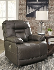WURSTROW SMOKE LEATHER MATCH POWER RECLINER CHAIR WITH ADJUSTABLE HEAD REST