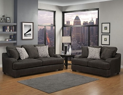 ROWLAND CHARCOAL GEL FOAM SEATING SOFA AND LOVE SEAT COLLECTION