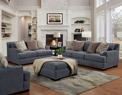OLYMPIA WOOD MIDNIGHT COIL SEATING SOFA AND LOVE SEAT COLLECTION