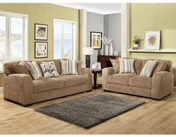 WESTLY CAMEL GEL FOAM SEATING SOFA AND LOVE SEAT COLLECTION
