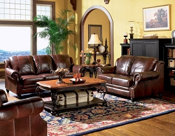 PRINCETON BURGUNDY FULL LEATHER SOFA LOVESEAT COLLECTION