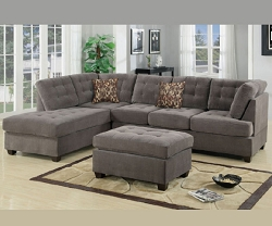WAFFLE CHARCOAL SOFT TOUCH TUFTED REVERSIBLE SECTIONAL CHAISE