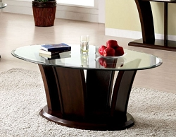 MANHATTAN CHERRY BROWN GLASS TOP COFFEE TABLE
