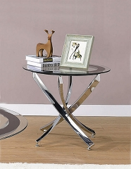 NICKEL GLASS TOP ROUND END TABLE
