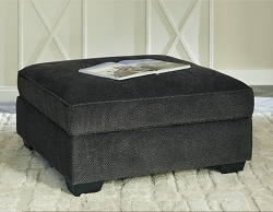 CHARENTON CHARCOAL SQUARE STORAGE OTTOMAN BY ASHLEY