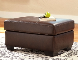 MORELOS CHOCOLATE LEATHER MATCH RECTANGLE OTTOMAN