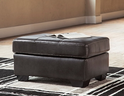 MORELOS GRAY LEATHER MATCH RECTANGLE OTTOMAN