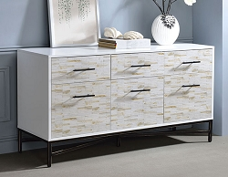 UMA WHITE FINISH WITH WEATHER WOOD PATTERN CONSOLE CABINET