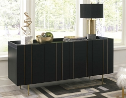 BRENTBURN 64 INCHES BLACK AND GOLD FINISH ACCENT CABINET