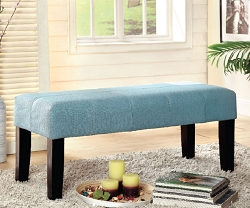 BURY BLUE LINEN LIKE FABRIC BENCH