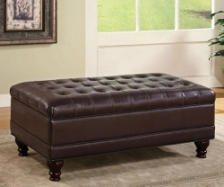 DARK BROWN LEATHERETTE TUFTED STORAGE OTTOMAN BENCH