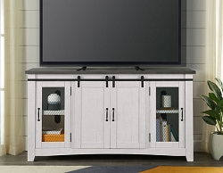 BARN DOOR RUSTIC WHITE GRAY TOP 65 INCHES WOOD TV STAND CONSOLE