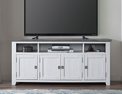 FOUNDRY WHITE GRAY 65 INCHES WOOD TV STAND CONSOLE