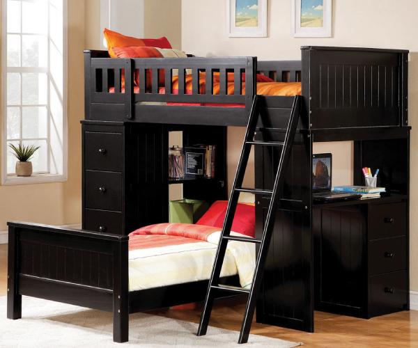 Hayden Twin White Loft Bed Set With Desk