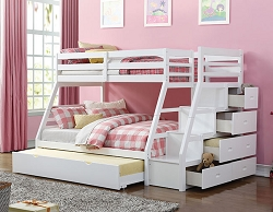 JASON WHITE TWIN FULL BUNK BED WITH STORAGE LADDER
