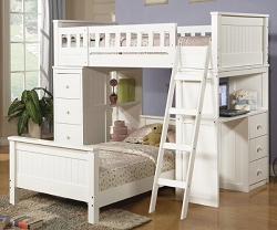 HAYDEN TWIN TWIN WHITE LOFT BED SET WITH DESK