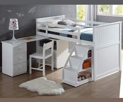 WYATT TWIN LOFT BED WITH SWIVEL DESK AND LADDER BOOKCASE