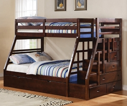 JASON ESPRESSO TWIN FULL BUNK BED WITH STORAGE AND TRUNDLE