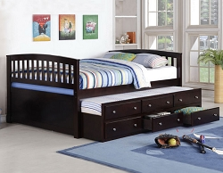 KAY FULL DARK EXPRESSO CAPTAIN DAYBED WITH STORAGE TRUNDLE