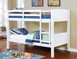 SYNC WHITE TWIN TWIN CONVERTIBLE WOODEN BUNK BED
