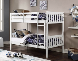 NOWY WHITE TWIN TWIN CONVERTIBLE WOODEN BUNK BED