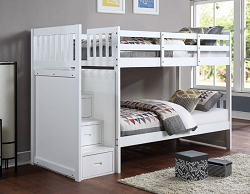 NOWY WHITE REVERSIBLE STORAGE STEP STAIR TWIN BUNK BED