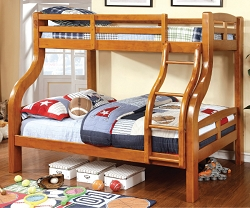 SOLPINE TWIN FULL BUNK BED IN OAK FINISH