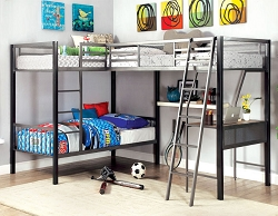 BALLARAT L SHAPE TRIPLE METAL TWIN LOFT BED