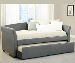 DELMAR GREY LEATHERETTE TWIN DAY BED WITH TRUNDLE