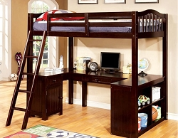 DUTTON DARK WALNUT TWIN WORKSTATION LOFT BED