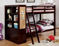 ATHENA ESPRESSO TWIN OVER TWIN WHITE BUNK BED WITH SIDE STORAGE