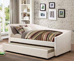 IVORY TWIN LEATHERETTE DAYBED WITH TRUNDLE
