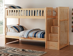 BARTLY SOLID WOOD TWIN TWIN BUNK BED WITH REVERSIBLE STORAGE STEP STAIR