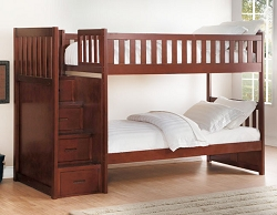 ROWE SOLID WOOD TWIN TWIN BUNK BED WITH REVERSIBLE STORAGE STEP STAIR