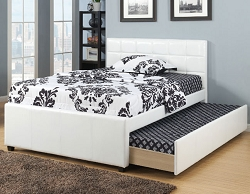 CHASEY WHITE YOUTH FAUX LEATHER BED WITH TRUNDLE